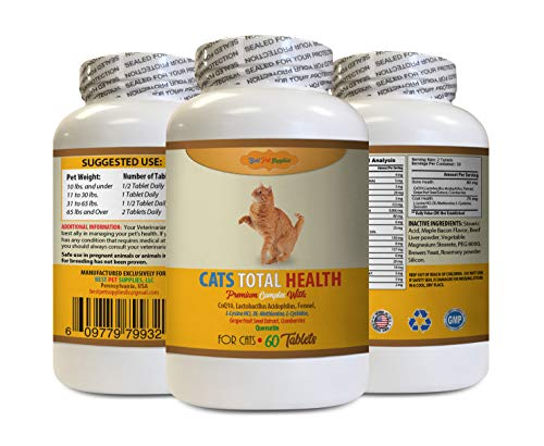 BEST PET SUPPLIES LLC cat Urinary Support - Cats Total Health Complex - Premium Formula - Coat Joint Oral Eye Immune Health - Vitamin b for Cats - 60 Tables (1 Bottle)