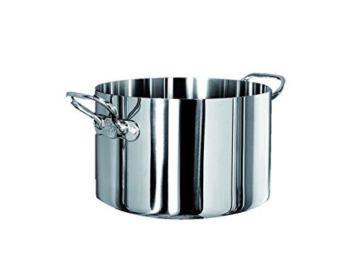 Pentole Agnelli, ALUM10420, Casseruola Alta in Trilaminato Acciaio-Alluminio-Acciaio con 2 Maniglie in Acciaio, Agnelli 1907, Trilaminato, Diametro 20 cm
