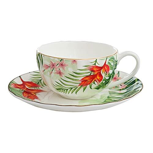 SXXYTCWL Taza de café y platillo Copa de Agua de cerámica Taza de té de la Tarde con la Taza de Cacao Caliente de la Taza de Latte de la Cuchara.