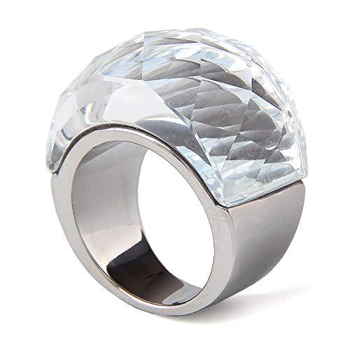 BVGA Anillo vintage de acero de titanio noble para hombres y mujeres con piedras preciosas n.º 8, anillo blanco para mujeres y niñas, hermanas, amigas, significativo regalo de joyería
