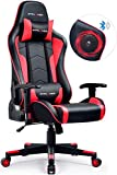 GTPLAYER Silla Gaming con Altavoz Bluetooth Escritorio Oficina Gamer Ergonomica con Cojín Reposabrazos 3D Ajustables Respaldo Reclinable Multifuncional(Rojo)