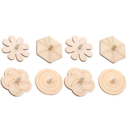 Review TENDYCOCO Wooden Spinning Top DIY Wood Spin Tops Unfinished Wood Crafts Arts for Kids Toy Par...