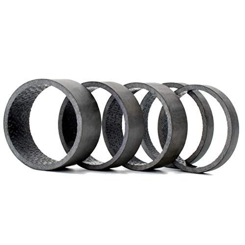 Wiivilik 5pcs / Set 28.6mm Carbon-Faser-Fahrrad-Gabel Headset Spacer Fahrradgabel Scheibe, Kohlefaser Rennrad-Gebirgsfahrrad MTB Vorderradgabel Dichtung