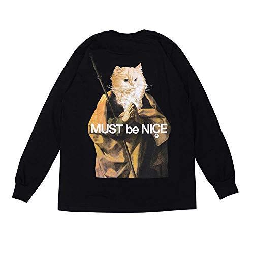 DANGONG BROTHERS Männer Frauen Langarm-T-Shirt beiläufige Lustige Mittelfinger Katze Sweater Mode lose Outwear Tops,XL