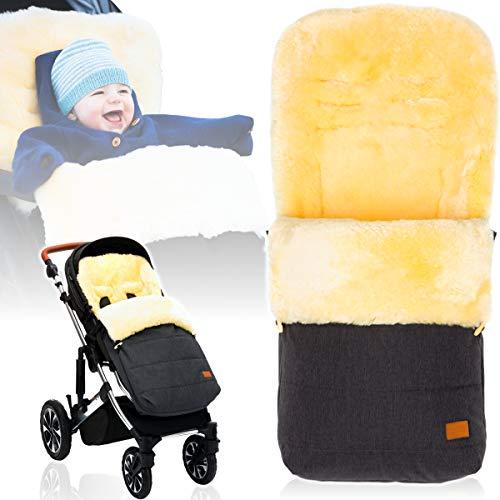 Winterfußsack/Fußsack (100% ECHTES LAMMFELL) für Kinderwagen/Buggy/Jogger Kinderwagenfußsack (DUNKELGRAU MELANGE)