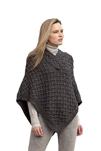 Aran Crafts Damen Zopfstrick-Poncho Nua Button (100% superweiche Merinowolle) - Schwarz - Medium-Large