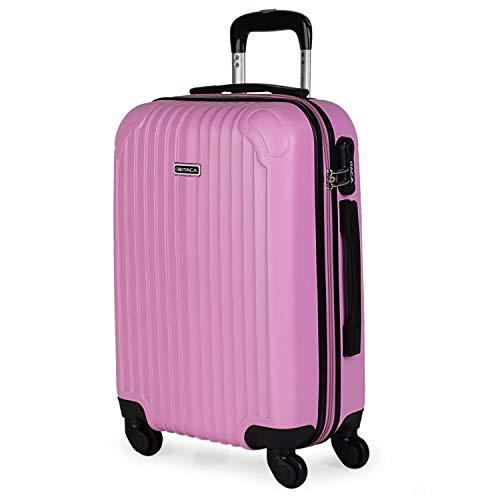 ITACA - Maleta de Viaje Cabina Rígida 4 Ruedas 55 cm Trolley ABS. Equipaje de Mano. Pequeña Resistente Cómoda y Ligera. Low Cost Ryanair. Estudiante. Calidad y Diseño. T71550, Color Rosa
