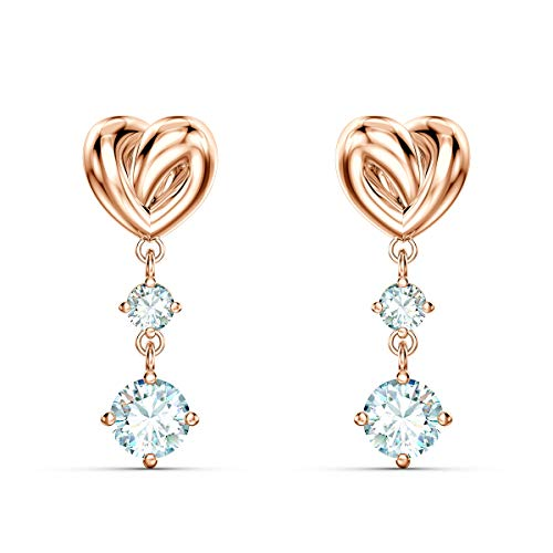 Swarovski Lifelong Heart Pierced Earrings with Sparkling White Crystals and Heart Motif, Rose-Gold Tone Plating, Part of the Lifelong Heart Collection