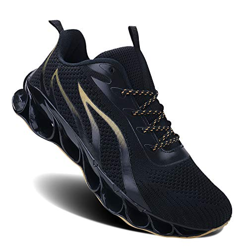 MOSHA BELLE Men Athletic Shoes Mesh Blade Running Walking Sneaker, 4black&yellow, 7