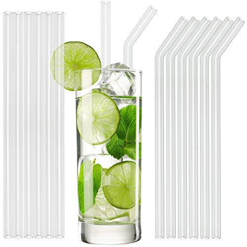 Pailles en verre T&N - 6 pailles droites et 6 courbées de 23 cm - 2 brosses de nettoyage – réutilisables écologiques artisanales – pour smoothies milkshakes chocolat chaud Cocktails Mojito Pina Colada