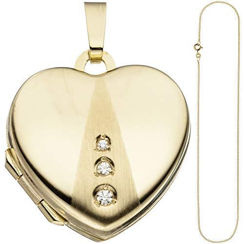 JOBO Damen Medaillon Herz Anhänger zum Öffnen für Fotos 333 Gold 3 Zirkonia mit Kette 45 cm