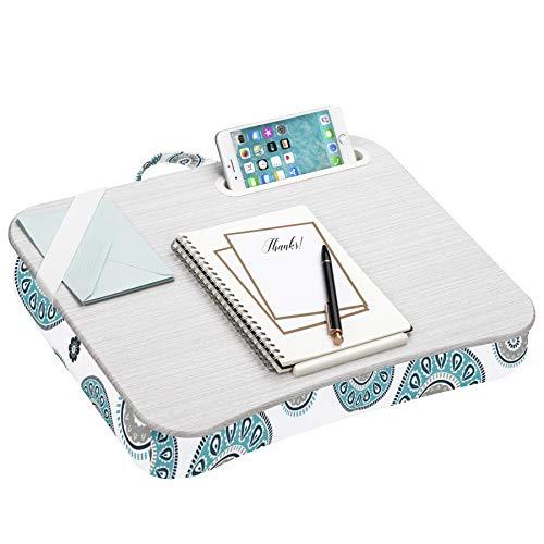 LapGear Mesa de colo designer com suporte de telefone e borda de dispositivo – Medalhão – Serve para laptops de até 15,6 polegadas – Modelo nº 45425, médio – Serve para laptops de até 15,6 polegadas