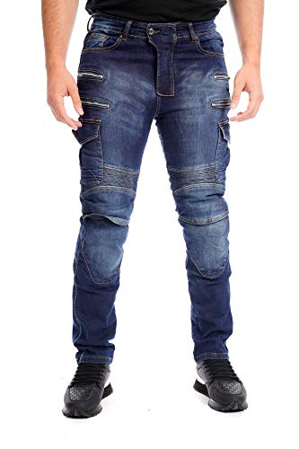 newfacelook Motorradhose Herren Motorrad Jeans Cargo Denim Stretch Panel Biker Hose mit Aramid Schutzfutter