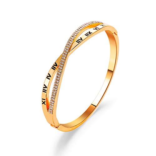 YIKOUQI Pulsera clásica de Moda para Mujer, brazaletes de Oro de Color Plateado para Mujer, Pulsera de Diamantes de imitación de Oro Rosa, Brazalete, joyería de Moda, Regalos