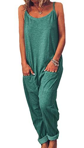 Ajpguot Verano Mujer Sexy Sling Monos Color Sólido Mamelucos Moda Largo Mono Casual Rompers Pantalones con Bolsillo (S, Verde)