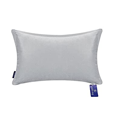 Aitliving Decorative Throw Pillow Lumbar Cushion Cover Cotton Velvet 1 pc Cotton Bolster Pillow Cushion Cover Silver Grey 12x18 inches(30.5x46cm)