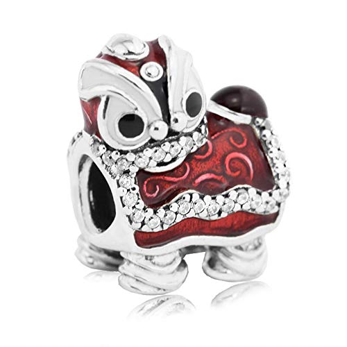 LIIHVYI Pandora Charms para Mujeres Cuentas Plata De Ley 925 Danza del León Chino Compatible con Pulseras Europeos Collars