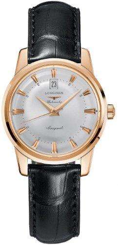Longines Heritage Classic/reloj para hombre y esfera plata/caja oro rosa/correa cocodrilo negro