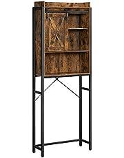 VASAGLE WC-plank, badkamerplank, met kast, stalen frame, voor wasmachine, eenvoudige montage, industrieel ontwerp, 64 x 24 x 171 cm, vintage bruin-zwart BTS003B01