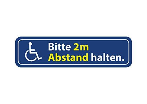 Aufkleber Rollstuhl Bitte 2m Abstand halten Wetterfest Waschstrassenfest und UV-Beständig