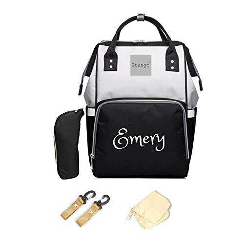 PERSONALIZED Diaper Bag Knapsack Backpack Monogram Baby Bag (Black/Grey)
