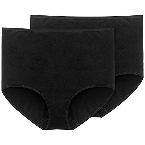 Schiesser Damen Maxi (2er Pack) Slip, Schwarz (schwarz 000), 50 (Herstellergröße: 050)
