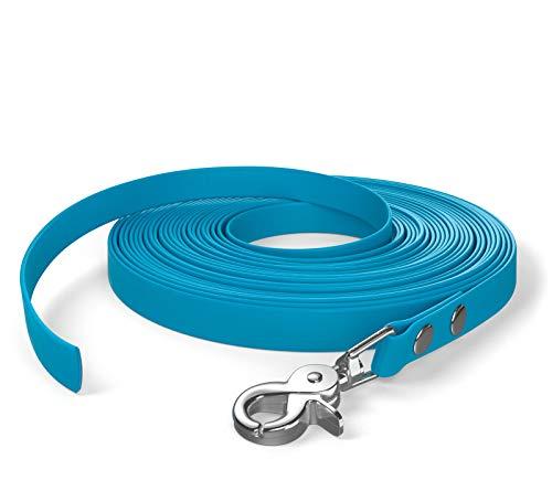 SNOOT 10m de Cable de Remolque, Correa para Perro, 1 mosquetón, Azul Cian, Muy Estable, Repelente a la Suciedad y al Agua.
