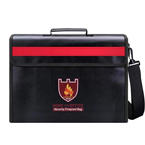 Large Fireproof Bag, Fireproof Safe & Water Resistant Document Bags, Portable Safe Bag for Money, Legal Documents, Files,Jewelry, Passport and Valuables Protection