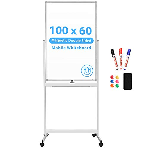 Tableau blanc magnétique mobile, 100 x 60 cm, double face, effaçable à sec, cadre en aluminium, tableau blanc sur roulettes
