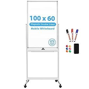 Pizarra blanca móvil, 100x60cm, doble cara, borrado en seco, marco de aluminio, con ruedas