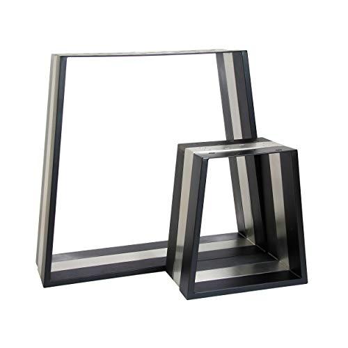 2x Natural Goods Berlin Design Tischkufen viele Modelle Metall Tischbeine | Tischgestell aus Stahl | Esstisch, Schreibtisch, Couchtisch, Bank (TRAPEZ H72cm, Schwarz)