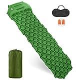 Mondeer Inflable Esterilla Camping, Portatíl Colchones Camping Autohinchable, con Almohada, Empalmable, Adecuada para Acampar, Viajar, Impermeable y Resistente a la Humedad, Verde