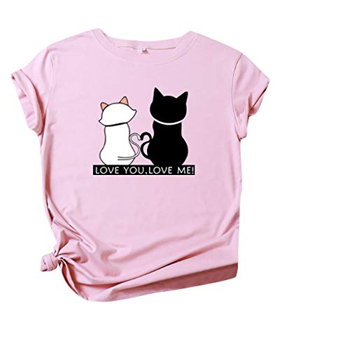 Women's Summer Tops Casual T-Shirt Cute Cat Fun Print Round Neck Short Sleeve Top Loose Fit Tunic Shirts Workout Running Sports Tee Fitted Shirt Jumpers Slim Simple Pullover Tees Pink