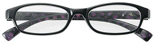 おしゃれな メガネ屋さんの 老眼鏡 シニアグラス パープルチェック +1.00 (専用ケース&メガネホルダー付) 4170-10