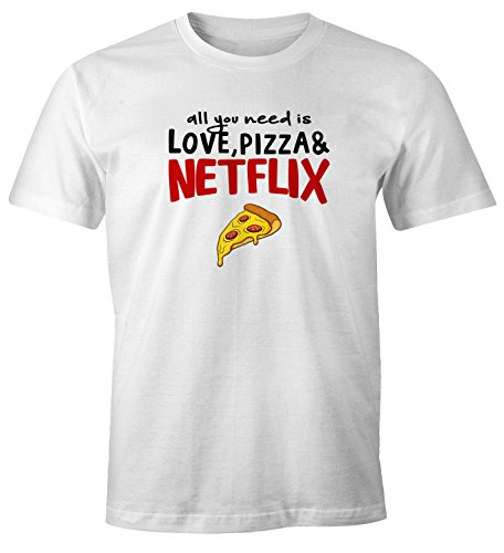 MoonWorks Herren T-Shirt All You Need is Love, Pizza and Netflix Spruch-Shirt Fun-Shirt weiß M