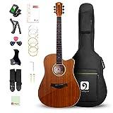 Vangoa Guitare Acoustique 4/4 Sapele Bois Coupe Dreadnought Guitare Folk 41 pouces avec Sac, Kits Débutant, Marron