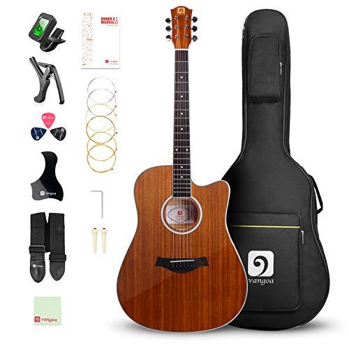 """Vangoa 41"""" Acoustic Guitar Kit, Full Size Cutaway Acoustic Guitar Beginner Kit with Padded Case, Tuner, Strap, Picks, Capo, Extra Strings for Beginner"""