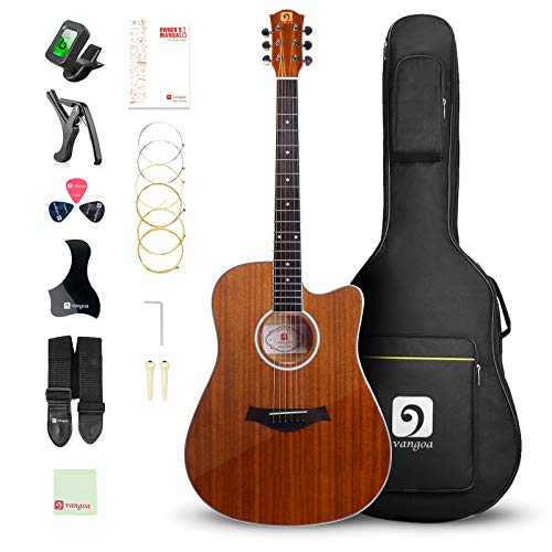 "Vangoa 41"" Acoustic Guitar Kit, Full Size Cutaway Acoustic Guitar Beginner Kit with Padded Case, Tuner, Strap, Picks, Capo, Extra Strings for Beginner"