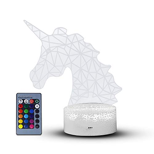 Hlearit Unicornio Ilusión 3D Luz de Noche - Unicornio Suministros para la Fiesta Enchufar Lámpara de Mesa LED para Niños con Control Remoto Cambiando 7 Colores Boda de cumpleaños Regalos de Fiesta