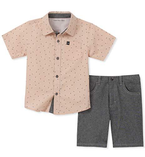 Calvin Klein Baby Boys 2 Pieces Shirt Shorts Set, Charcoal, 24M