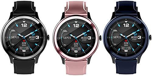 WUZHOOA Pulsera inteligente G28 con Bluetooth 5.0, monitor de actividad física, monitor de ritmo cardíaco, IP68, resistente al agua, monitor de sueño, monitor de actividad física (color: negro)