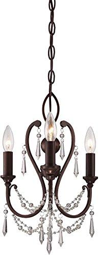 "Minka Lavery 3138-284 Mini Candle Crystal Chandelier Lighting, 3-Light, 180 Watts, Vintage Bronze (12""W x 17""H)"