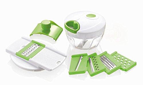 Culinario Mini mandolina in plastica e acciaio inox, 14,5 x 11,5 x 18 cm, in verde e bianco