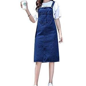 Pinafore Dress for Women Girls Denim Straps A-line Overall Dress