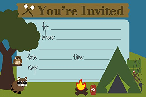 Camping Themed Birthday Party Invitations