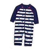 Soui Säuglingsjunge EIN stück UV-Schutz 50+ Badeanzug MIT Einem Reißverschluss (Blau-KSegeln, 18-24)
