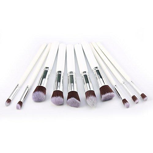 Kelis 10 pcs / set Kit de brosse à maquillage Mixage de la Fondation Cosmétique avec 5 pièces petites, 5 pièces grand (blanc argenté)