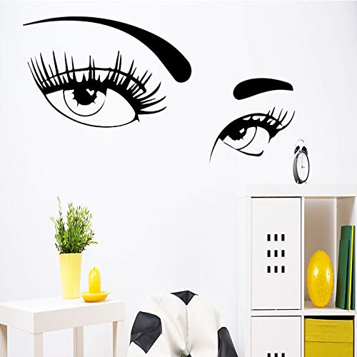 sxh28185171 - Adhesivo decorativo para pared, diseño de doble ojo, para salón, dormitorio, decoración de pared, vinilo adhesivo decorativo para pared, accesorio decorativo, 30 x 15 cm