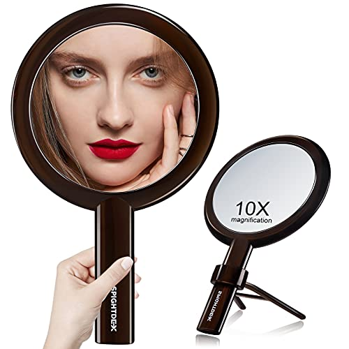 Spightdex Handheld Mirror,Hand Mirror with Handle Adjustable,1x/10x Magnifying Double Sided Hand Held Makeup Mirror with Stand for Woman Beauty Travel Desktop Tabletop Shaving,Transparent Black