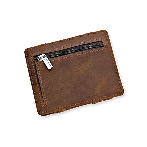 URBANHELDEN - Magic Wallet - Magischer Geldbeutel mit RFID Schutz und Münzfach - Portemonnaie aus echtem Büffelleder - Kreditkartenhalter Ausweisetui - Portmonee Herren - Braun